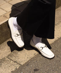 GUCCI/ vintage leather white  horsebit loafer.