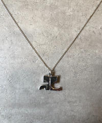 courreges/vintage logo motif silver necklace.
