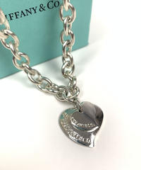 Tiffany&Co. / vintage double heart plate 2way necklace.