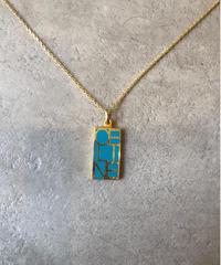 CELINE/square logo plate  gold  necklace