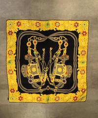 CELINE/ vintage chain  jewelry motif scarf