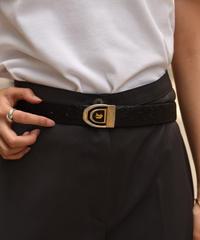 CELINE/ vintage design horse gold×black belt.