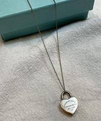 Tiffany&Co. / vintage lock charm silver necklace.
