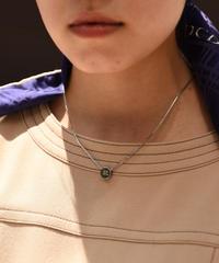Courreges/ vintage box chain round motif necklace.