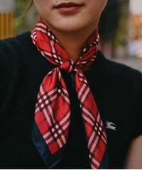 Burberry/ vintage check silk scarf.