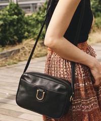 courreges/vintage black leather shoulder bag.
