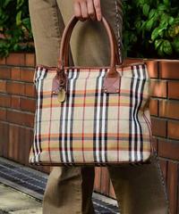 BURBERRY/noba check linen handbag.