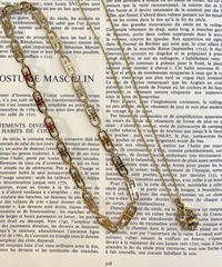 Givenchy / vintage G logo stone charm necklace.(light)