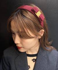 Salvatore Ferragamo/vara plate headband (WINE RED×GOLD). (M)