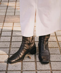 HERMES/ square toe middle boots.