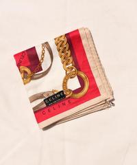 CELINE / vintage logo chain motif handkerchief scarf.(pink)