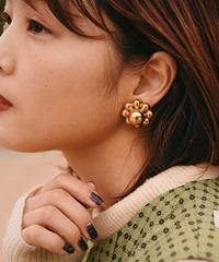 Christian Dior /vintage gold flower earring .