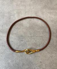 HERMES/vintage leather  jumbo necklace.