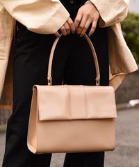 MAXMARA/ square smooth leather hand bag.