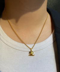 Courreges/ vintage logo  gold necklace.(P)