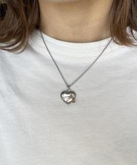 CELINE/vintage heart motif C logo macadam necklace .  430003H