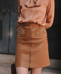 GUCCI/ vintage leather skirt.