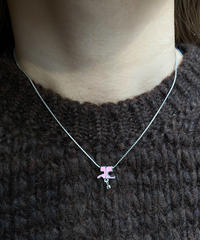 Courreges/ vintage   pink×silver  logo  necklace.(U)10