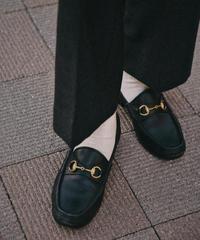GUCCI/horse black leather bit loafer.