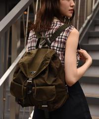 PRADA / vintage nylon  khaki double pocket backpack.