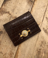VERSACE/ sun motif leather mini wallet