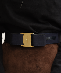 Salvatore Ferragamo / vintage vara  ribbon design belt.(navy)