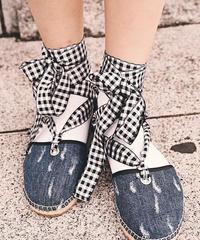miu miu / vintage denim lace up sandal.