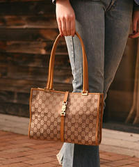 GUCCI/ monogram canvas×leather hand bag