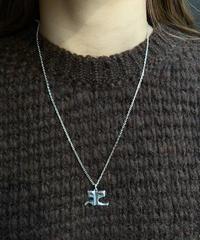 Courreges/ vintage big  logo  silver necklace.(P)6