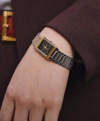 Yves Sant Laurent / vintage gold×silver mix square  quartz.