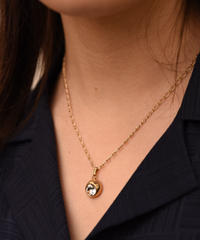 CELINE / vintage macadam×stone round necklace.