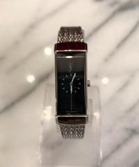 Yves Saint  Laurent/ vintage logo square slim silver quartz. (P)