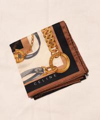 CELINE / vintage logo chain motif handkerchief scarf.(black)