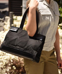 PRADA/vintage handle leather ×nylon  handbag.