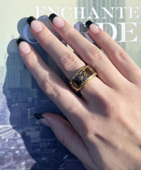 LOEWE/ vintage logo design brown×gold ring.