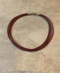 BVLGARI/ vintage leather bordeaux necklace.(U)