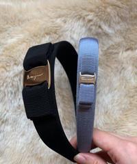 Salvatore Ferragamo/ vara ribbon headband.(black×gold)(left)