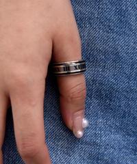 Tiffany&Co./ATLAS silver×black ring .  (U)