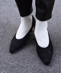 Yves Saint Laurent/ vintage gold heel suède pumps.(10)