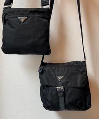 PRADA/vintage logo nylon shoulder bag.(left)
