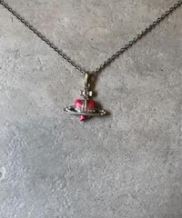 Vivienne Westwood/vintage pink  heart orb motif necklace.