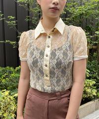 DOLCE&GABBANA / see-through flower design blouse.
