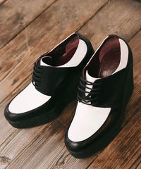 CELINE/bi-color leather shoes.