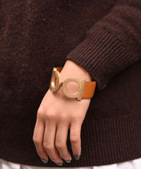 Salvatore Ferragamo/vintage gancini  motif gold bracelet (LIGHT BRWN)