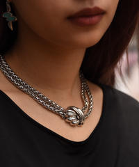 Givenchy / vintage silver double chain necklace.(U)
