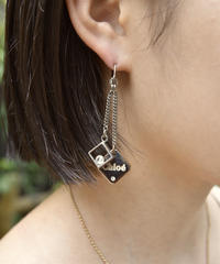 Chloe / vintage square logo stone pierce.(P)