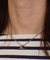Courreges/ vintage stone silver logo necklace.(P)