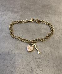 Christian Dior/vintage key×heart motif  gold bracelet(心斎橋)