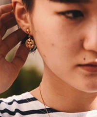 Courreges/vintage round logo motif  earring.