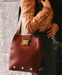 Salvatore Ferragamo/vintage shoes motif leather bag.